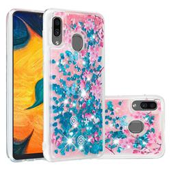 Blue Plum Blossom Dynamic Liquid Glitter Quicksand Soft TPU Case for Samsung Galaxy A30
