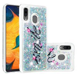 Smile Flower Dynamic Liquid Glitter Quicksand Soft TPU Case for Samsung Galaxy A30