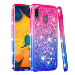 Diamond Frame Liquid Glitter Quicksand Sequins Phone Case for Samsung Galaxy A30 - Pink Blue