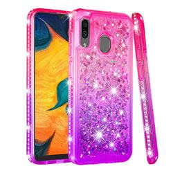 Diamond Frame Liquid Glitter Quicksand Sequins Phone Case for Samsung Galaxy A30 - Pink Purple