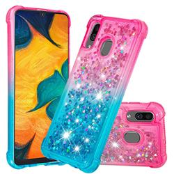 Rainbow Gradient Liquid Glitter Quicksand Sequins Phone Case for Samsung Galaxy A30 - Pink Blue