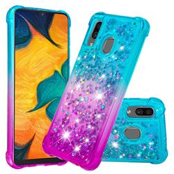Rainbow Gradient Liquid Glitter Quicksand Sequins Phone Case for Samsung Galaxy A30 - Blue Purple