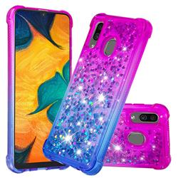 Rainbow Gradient Liquid Glitter Quicksand Sequins Phone Case for Samsung Galaxy A30 - Purple Blue