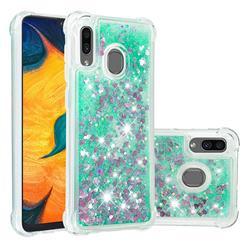 Dynamic Liquid Glitter Sand Quicksand TPU Case for Samsung Galaxy A30 - Green Love Heart
