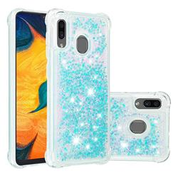 Dynamic Liquid Glitter Sand Quicksand TPU Case for Samsung Galaxy A30 - Silver Blue Star