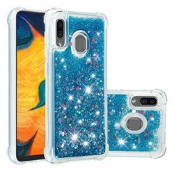 Dynamic Liquid Glitter Sand Quicksand TPU Case for Samsung Galaxy A30 - Blue Love Heart