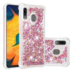 Dynamic Liquid Glitter Sand Quicksand TPU Case for Samsung Galaxy A30 - Rose Gold Love Heart