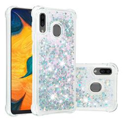 Dynamic Liquid Glitter Sand Quicksand Star TPU Case for Samsung Galaxy A30 - Silver