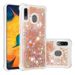 Dynamic Liquid Glitter Sand Quicksand Star TPU Case for Samsung Galaxy A30 - Diamond Gold