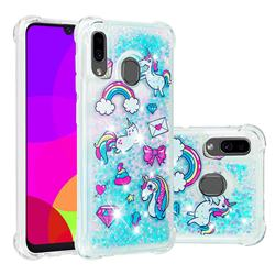 Fashion Unicorn Dynamic Liquid Glitter Sand Quicksand Star TPU Case for Samsung Galaxy A30