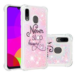 Never Stop Dreaming Dynamic Liquid Glitter Sand Quicksand Star TPU Case for Samsung Galaxy A30