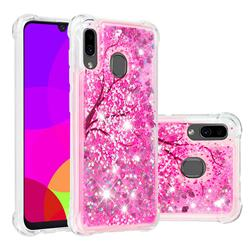 Pink Cherry Blossom Dynamic Liquid Glitter Sand Quicksand Star TPU Case for Samsung Galaxy A30