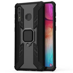 Predator Armor Metal Ring Grip Shockproof Dual Layer Rugged Hard Cover for Samsung Galaxy A30 - Black