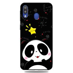 Cute Bear 3D Embossed Relief Black TPU Cell Phone Back Cover for Samsung Galaxy A30