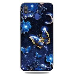 Phnom Penh Butterfly 3D Embossed Relief Black TPU Cell Phone Back Cover for Samsung Galaxy A30