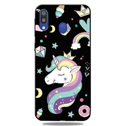 Candy Unicorn 3D Embossed Relief Black TPU Cell Phone Back Cover for Samsung Galaxy A30