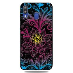 Colorful Lace 3D Embossed Relief Black TPU Cell Phone Back Cover for Samsung Galaxy A30