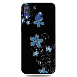 Little Blue Flowers 3D Embossed Relief Black TPU Cell Phone Back Cover for Samsung Galaxy A30