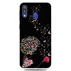 Corolla Girl 3D Embossed Relief Black TPU Cell Phone Back Cover for Samsung Galaxy A30