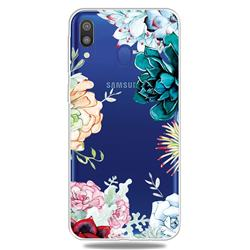 Gem Flower Clear Varnish Soft Phone Back Cover for Samsung Galaxy A30