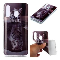 Cat and Tiger Soft TPU Cell Phone Back Cover for Samsung Galaxy A30