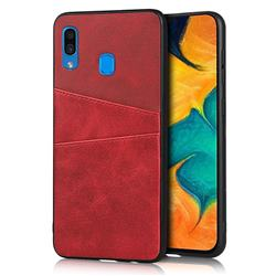 Simple Calf Card Slots Mobile Phone Back Cover for Samsung Galaxy A30 - Red