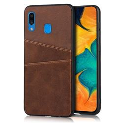 Simple Calf Card Slots Mobile Phone Back Cover for Samsung Galaxy A30 - Coffee