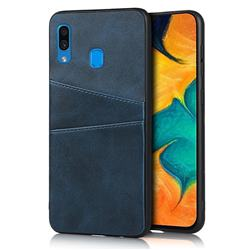 Simple Calf Card Slots Mobile Phone Back Cover for Samsung Galaxy A30 - Blue