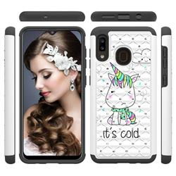 Tiny Unicorn Studded Rhinestone Bling Diamond Shock Absorbing Hybrid Defender Rugged Phone Case Cover for Samsung Galaxy A30