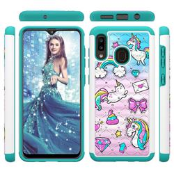 Fashion Unicorn Studded Rhinestone Bling Diamond Shock Absorbing Hybrid Defender Rugged Phone Case Cover for Samsung Galaxy A30