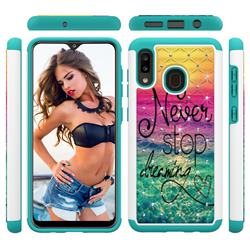 Colorful Dream Catcher Studded Rhinestone Bling Diamond Shock Absorbing Hybrid Defender Rugged Phone Case Cover for Samsung Galaxy A30