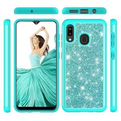 Glitter Rhinestone Bling Shock Absorbing Hybrid Defender Rugged Phone Case Cover for Samsung Galaxy A30 - Green