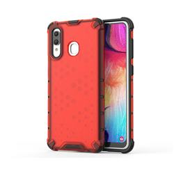Honeycomb TPU + PC Hybrid Armor Shockproof Case Cover for Samsung Galaxy A30 - Red