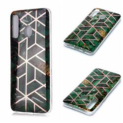 Green Rhombus Galvanized Rose Gold Marble Phone Back Cover for Samsung Galaxy A30