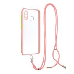 Necklace Cross-body Lanyard Strap Cord Phone Case Cover for Samsung Galaxy A30 - Pink