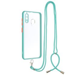 Necklace Cross-body Lanyard Strap Cord Phone Case Cover for Samsung Galaxy A30 - Blue