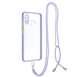 Necklace Cross-body Lanyard Strap Cord Phone Case Cover for Samsung Galaxy A30 - Purple