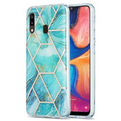Blue Sea Marble Pattern Galvanized Electroplating Protective Case Cover for Samsung Galaxy A30