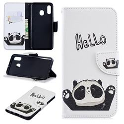 Hello Panda Leather Wallet Case for Samsung Galaxy A30