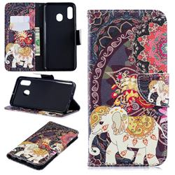 Totem Flower Elephant Leather Wallet Case for Samsung Galaxy A30
