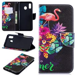 Flowers Flamingos Leather Wallet Case for Samsung Galaxy A30