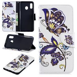 Butterflies and Flowers Leather Wallet Case for Samsung Galaxy A30