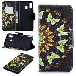 Circle Butterflies Leather Wallet Case for Samsung Galaxy A30