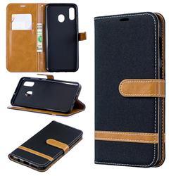 Jeans Cowboy Denim Leather Wallet Case for Samsung Galaxy A30 - Black