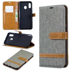 Jeans Cowboy Denim Leather Wallet Case for Samsung Galaxy A30 - Gray