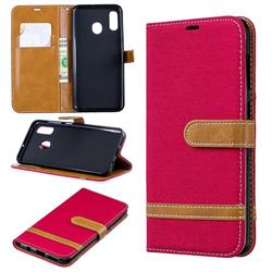Jeans Cowboy Denim Leather Wallet Case for Samsung Galaxy A30 - Red