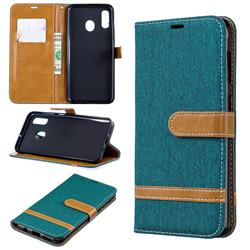 Jeans Cowboy Denim Leather Wallet Case for Samsung Galaxy A30 - Green
