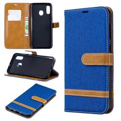 Jeans Cowboy Denim Leather Wallet Case for Samsung Galaxy A30 - Sapphire