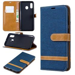 Jeans Cowboy Denim Leather Wallet Case for Samsung Galaxy A30 - Dark Blue