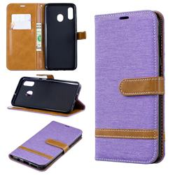 Jeans Cowboy Denim Leather Wallet Case for Samsung Galaxy A30 - Purple